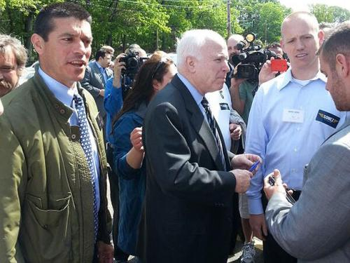 John McCain Attends Dorchester Rally For Gabriel Gomez