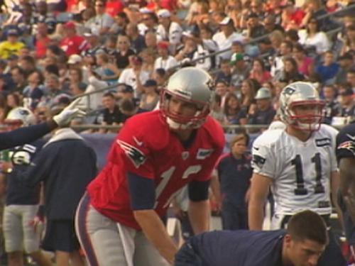 Patriots Practice Under The Lights At Gillette Stadium